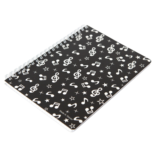 Spiral Notebook Side Bound black with white notes. 32pg.  13cm x18cm.