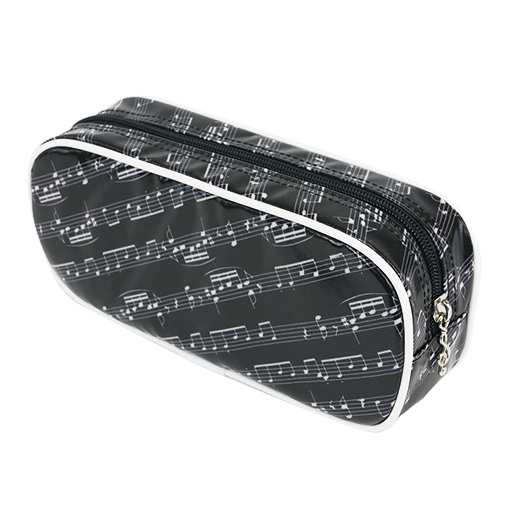 Pencil case black with white manuscript & white edging