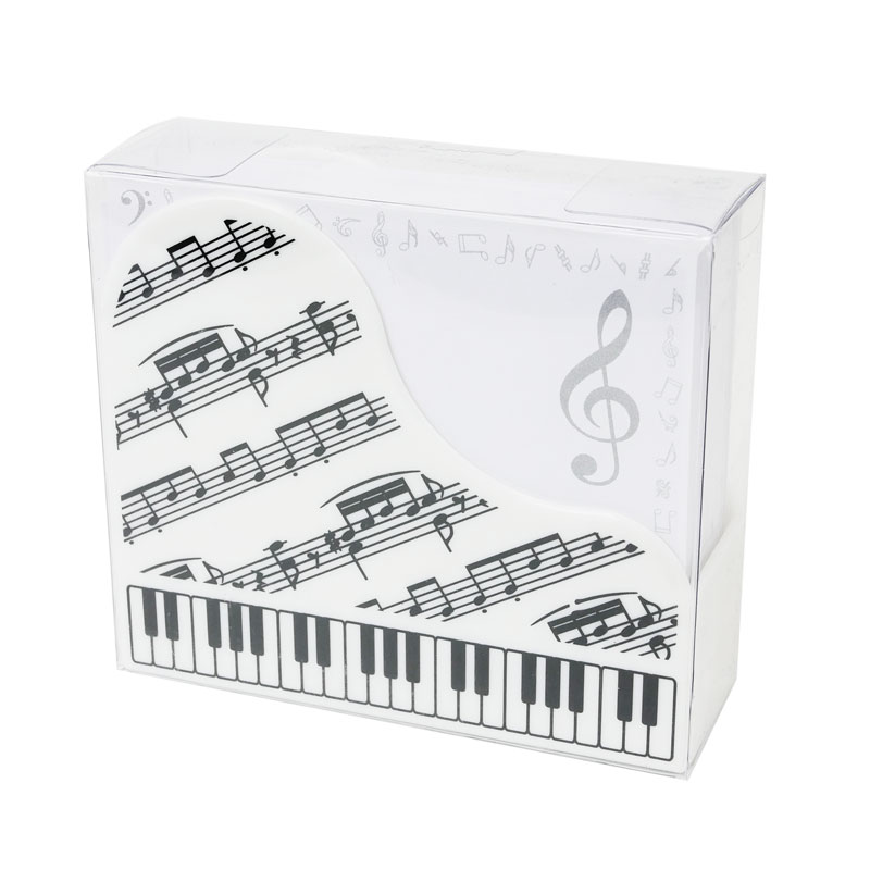 Note Set - A white grand piano shaped box with musical memo sheets inside.