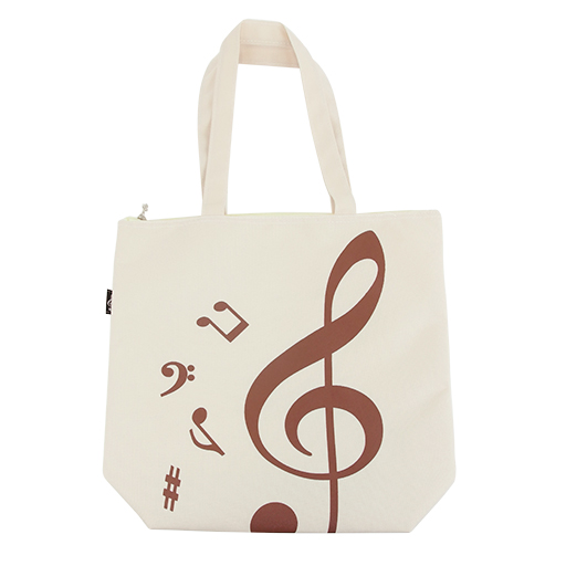 Music Tote Bag - creme with brown treble clef & notes.