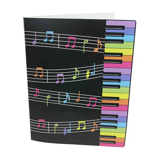 Display Book Black A4 Folder 20 Pages with colourful keyboard & notes.