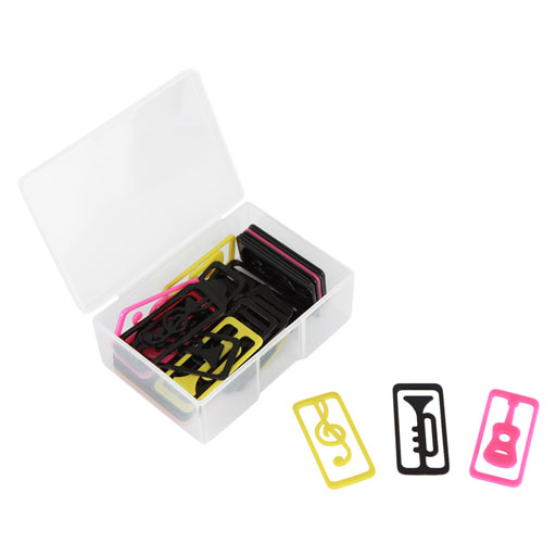 BOX OF PAPER CLIPS RECTANGULAR WITH MUSIC SYMBOLS & INSTRUMENTS.