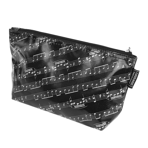 Pencil case or toiletry black with white manuscript.