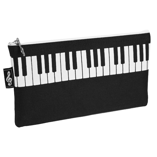 Pencil Case - Black with White Piano Keyboard