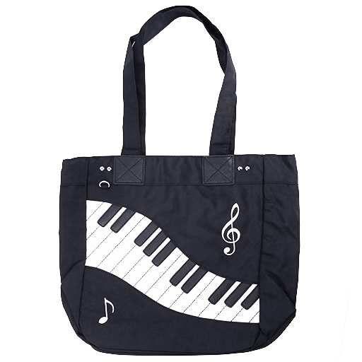 Music or Shopping Bag - Black with white keyboard.