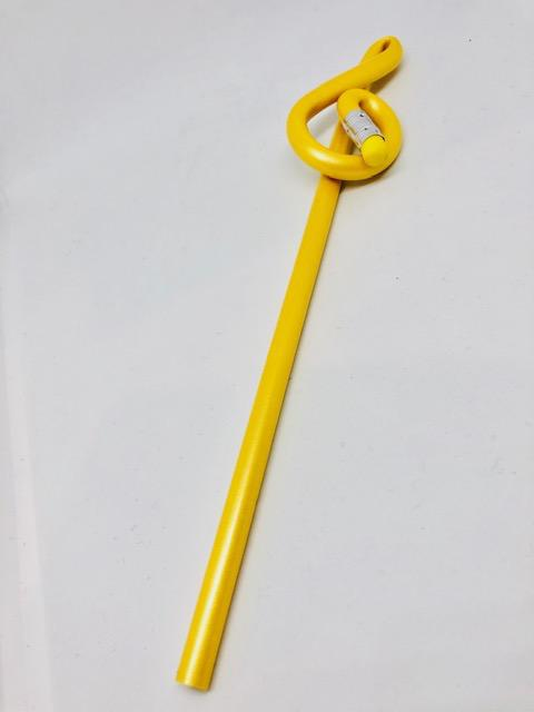 Pencil - BENT TREBLE CLEF SHAPE AT THE TOP. Yellow