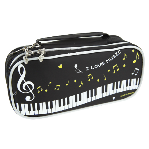 Pencil Case - 2 Layer Black with Piano Keys & I Love Music