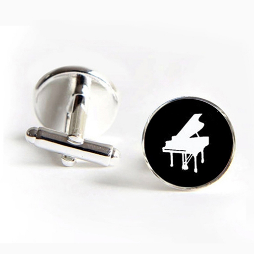 Cufflinks glass dome black with a white grand piano. Black base.