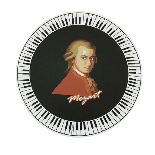 Mouse pad - round. Mozart with a keyboard boarder