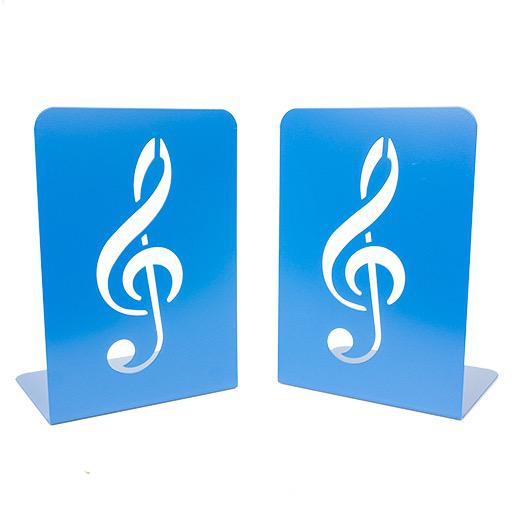 Bookends - a pair of book stands, blue with a treble clef cut out. 19X13.5X11.