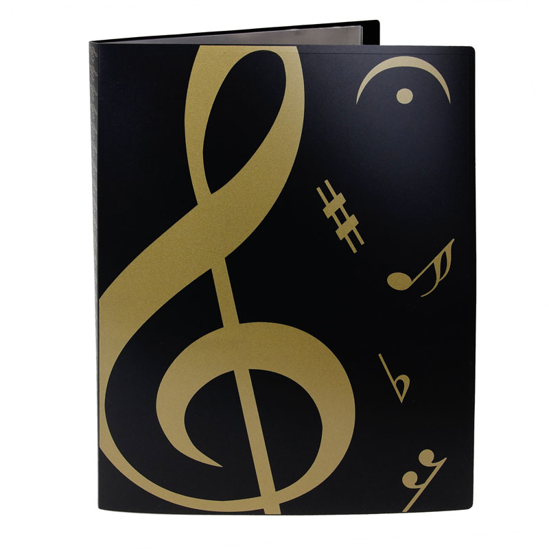 Folder - Display - A black folder with gold musical symbols. There are clear sleeves on the inside.