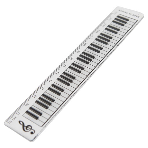 RULER 15CM WITH KEYBOARD DESIGN WITH TREBLE CLEF.