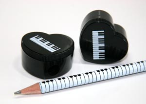 Heart Shaped Sharpener Black with White Keyboard