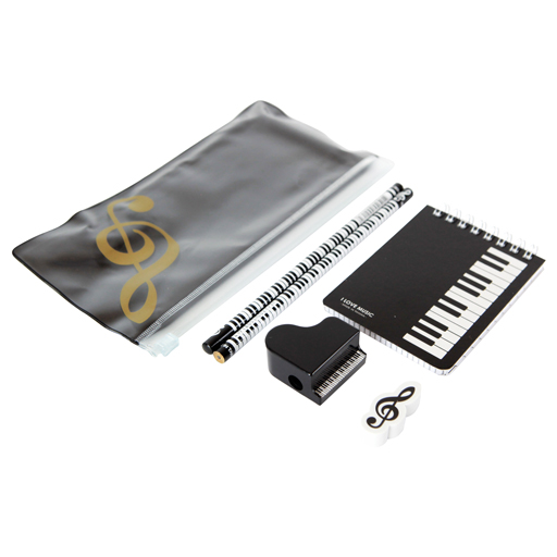 A6 Zipper Stationery Set -Notebook with keyboard in clear pencil case with gold treble clef.