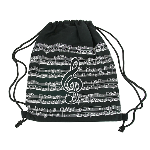 Bag -backpack black with white manuscript & a black treble clef. 43 X 38.