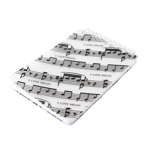 Spiral Notebook Top Bound Spiral. White with black manuscript. 11cm x 15cm. I Love Music.