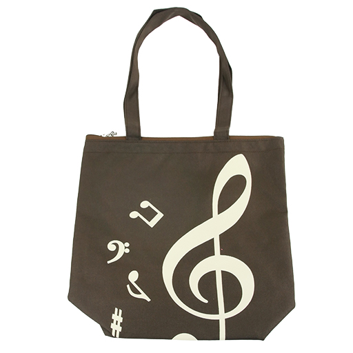 Bag - brown with creme treble clef & notes