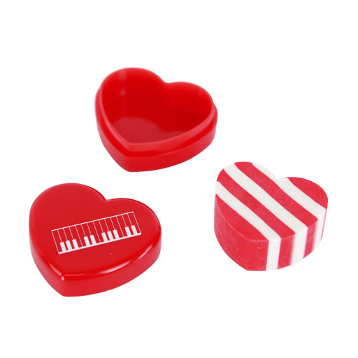 Eraser - Heart Shaped in Box Red with keyboard or treble clef.