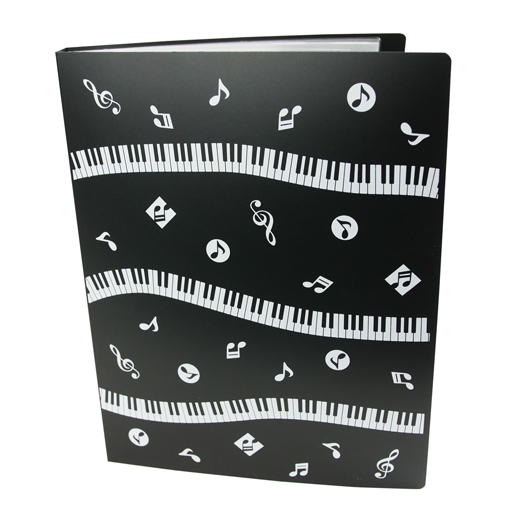 Display Book Folder 40 Pages with White Manuscript and Piano Keys or White with G Clef