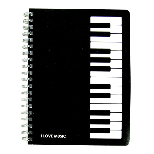 Spiral Notebook Side Bound. Black with Piano Keys 32pg. 13cm x 18cm.