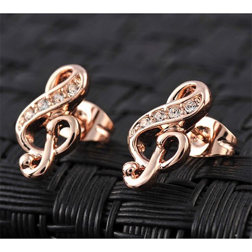 Earings treble clef stud - zinc alloy gold plated with Austrian crystal stones
