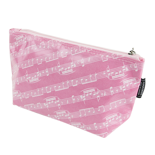 Pencil case or toiletry bag pink with white manuscript