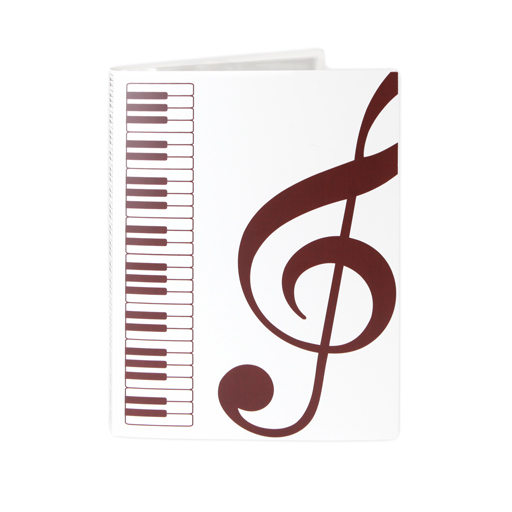 Display Folder 40 pages white with brown keyboard, treble & bass clef & piano keys.