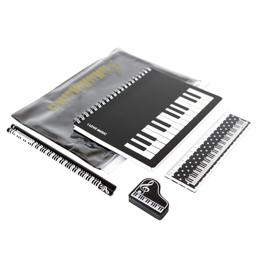 A5 Zipper Stationery Set -  Keyboard theme in clear pencil case