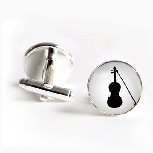 Cufflinks - round with glass dome. White with a black drawing of a violin & bow. Black base.