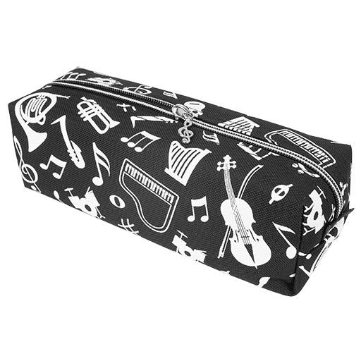 Black and White Pencil Case with Notes and Instruments
