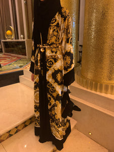 Designer inspired print abaya. Black and gold. Modest fashion item. with matching hijab.