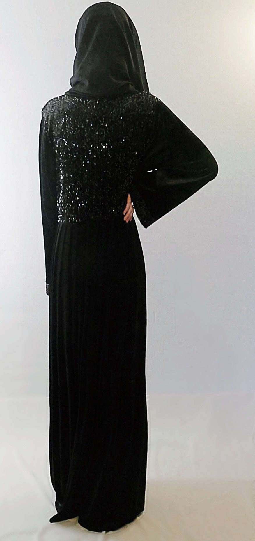Velvet empire waistline abaya. Beautiful modest fashion for evening wear. On trend abaya with sequinned bodice.