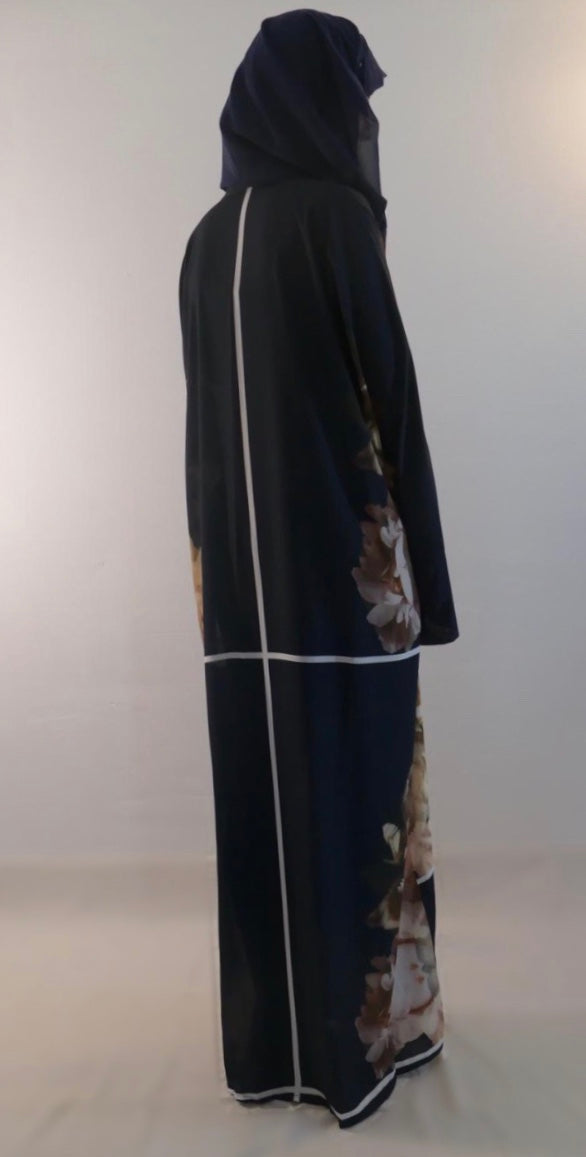 Open abaya in digital print fabric. Contemporary Abaya in straight cut with a belt. ModestFashion.