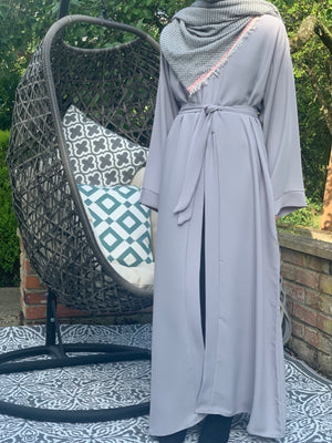 Pastel Abaya. Abaya UK. Open Abaya. Light Grey.