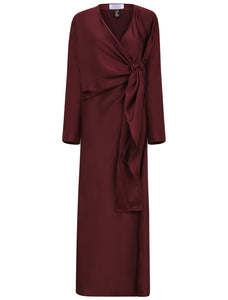Beautiful occasion abaya, One piece. wine colour. abaya with a twist.