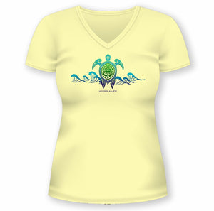 Solar Protection Female Shirt UPF 50+ Turtle Wave