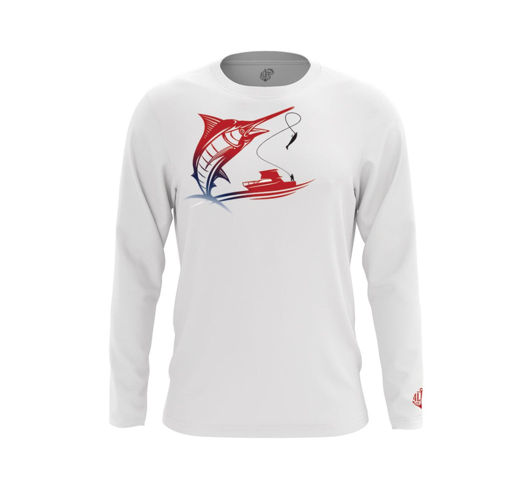 Kids Patriotic Marlin Long Sleeve Shirt UPF 50+
