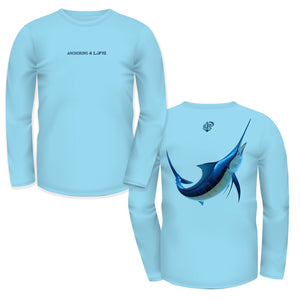 Solar Protection Men Shirt UPF 50+ Blue Marlin