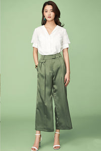 Solid Green Wide Pants