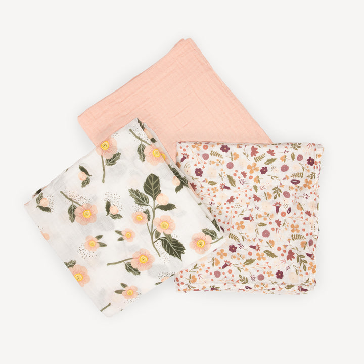 Swaddle Three Pack - Blushing Bloom Set