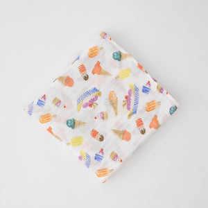 single swaddle blanket with ice cream cones, banana splits, and other frozen treats