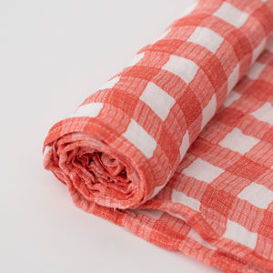single swaddle blanket in red plaid print