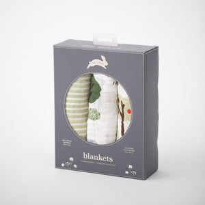 3 swaddle blankets featuring farm animals, apple trees, green stripe prints. All in Red Rover packaging