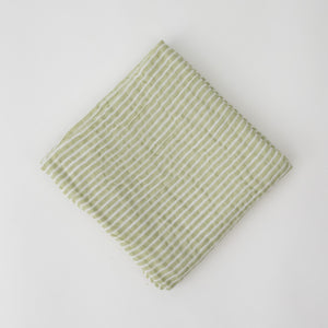 single swaddle blanket with small green stripes