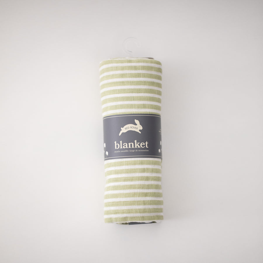 single swaddle blanket with small green stripes rolled in Red Rover packaging