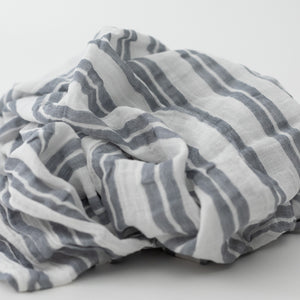 single swaddle blanket with double grey stripes on a white background