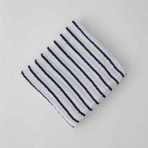 single swaddle blanket with navy stripes on a white background