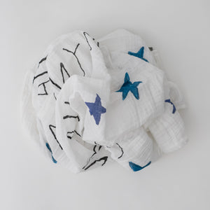 "single swaddle blanket with with blue stars, and yellow sun, and the words ""you are my sun my moon and all my stars"" all on a white background"