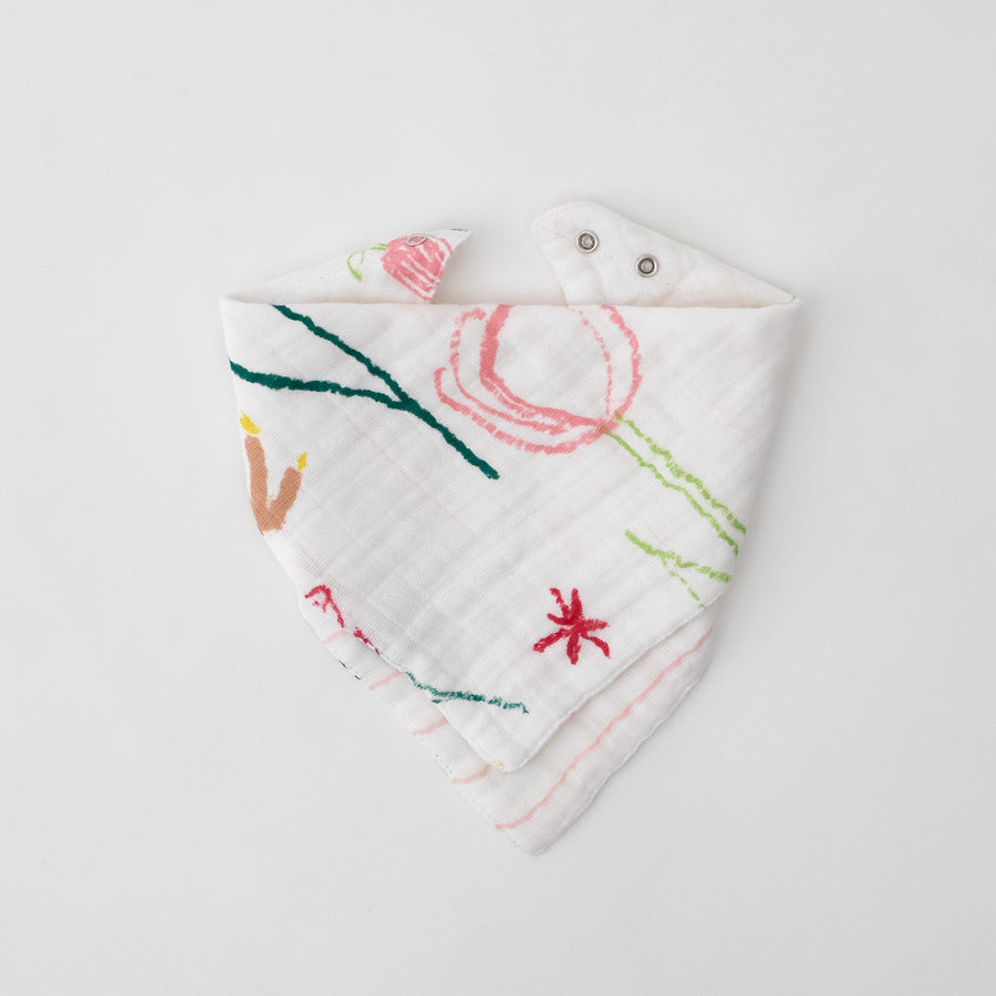 cotton muslin reversible bandana bib with pink flowers, side 1