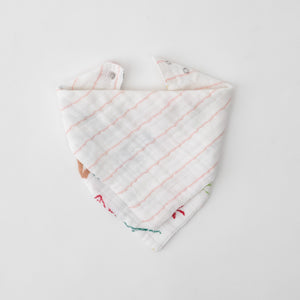 cotton muslin reversible bandana bib pink stripe print, side 2